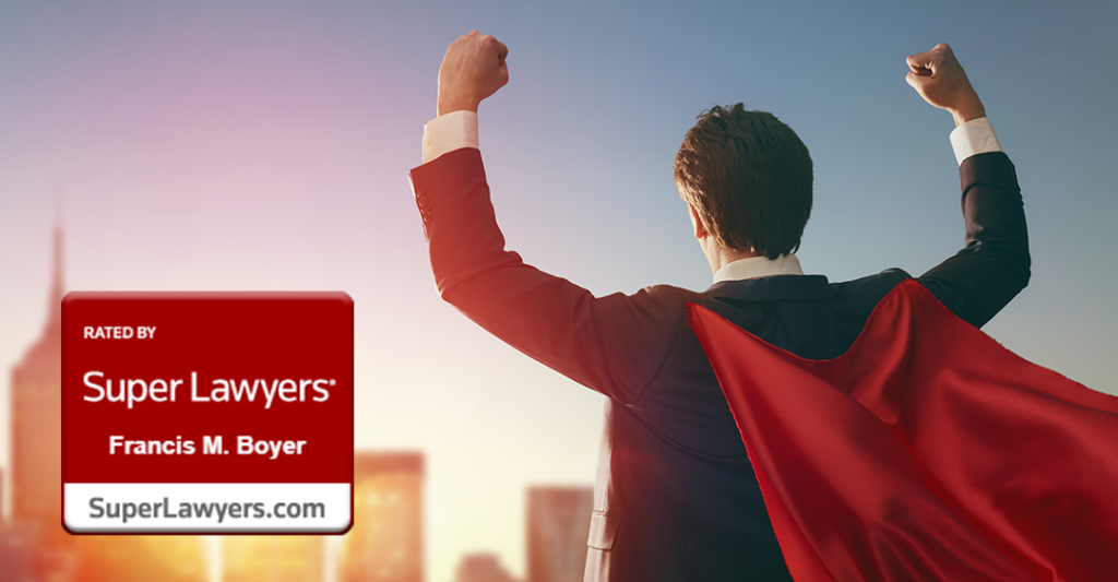 man in suit and red cape facing sunset on city with fists raised, Francis M. Boyer, 2020 Super Lawyer, Board Certified Expert, international law
