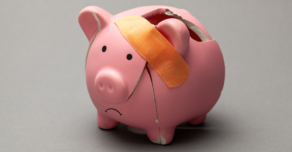 broken pink piggy bank with band-aid, coin bank, heals act, what does it mean for businesses?