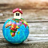Little toy house on earth planet model, motherland, property, home, ancillary administration, domiciliary