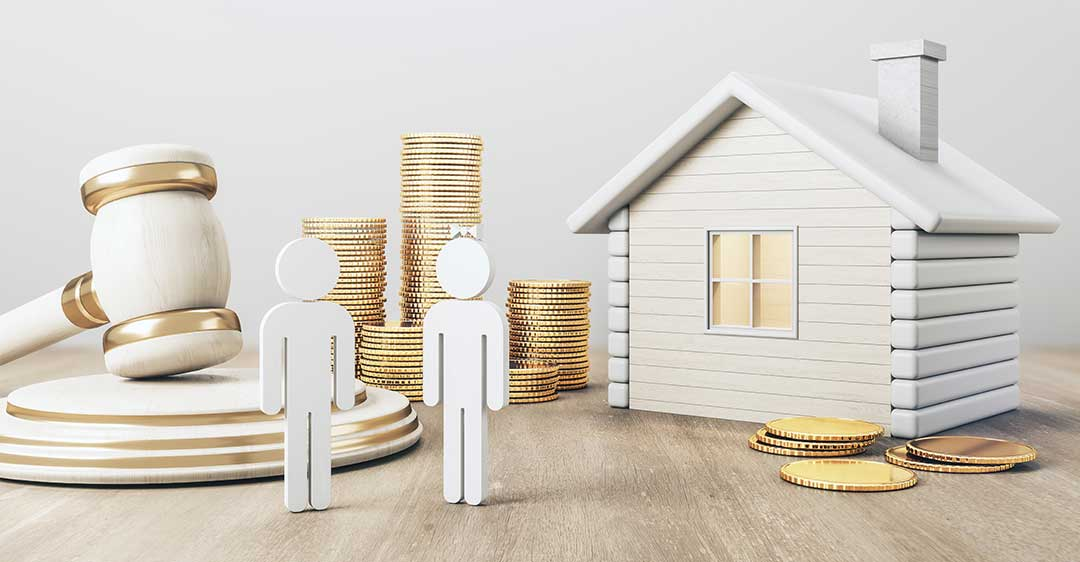 white house with gold coin stacks, male, female, gavel, divorce, property division, separation agreement, bill gates divorce, gates separation agreement