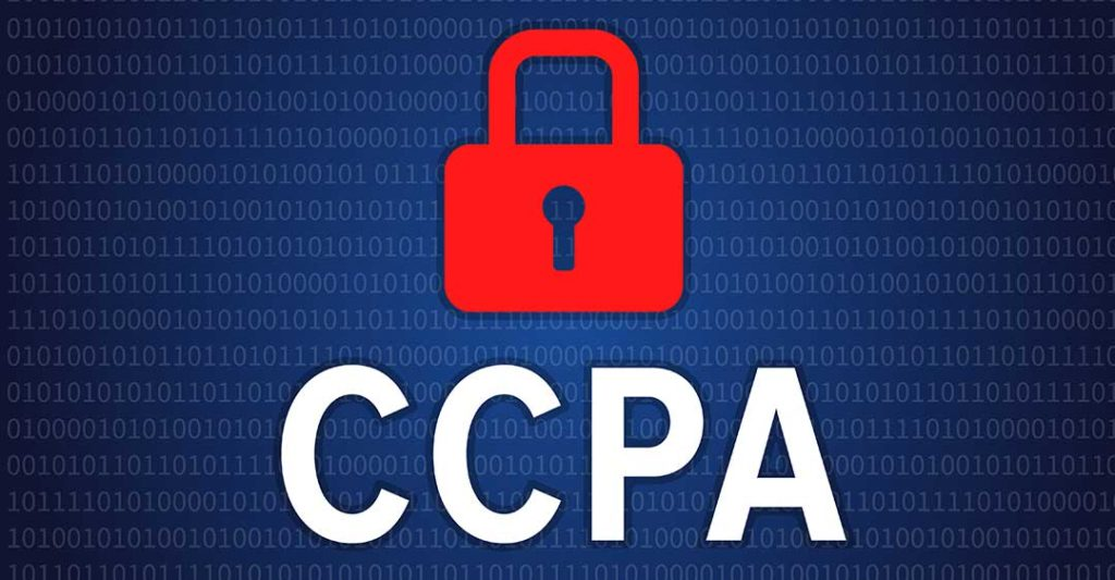 binary code background with red lock with letters CCPA, california consumer protection act, impact of ccpa on civil litigation
